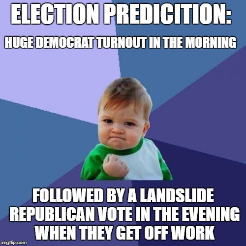 Success Kid Meme | ELECTION PREDICITION: FOLLOWED BY A LANDSLIDE REPUBLICAN VOTE IN THE EVENING WHEN THEY GET OFF WORK HUGE DEMOCRAT TURNOUT IN THE MORNING | image tagged in memes,success kid | made w/ Imgflip meme maker