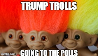 Treasure trolls | TRUMP TROLLS GOING TO THE POLLS | image tagged in treasure trolls | made w/ Imgflip meme maker