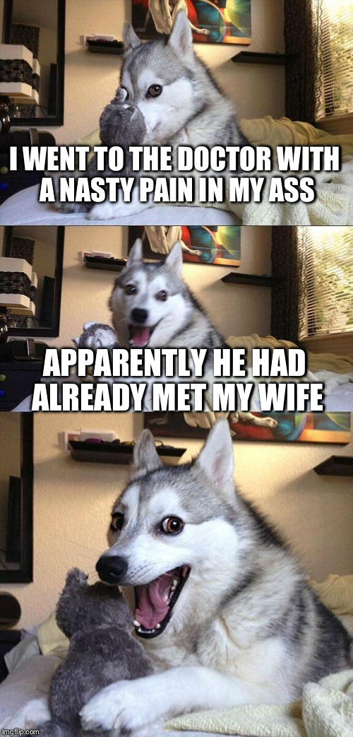 Bad Pun Dog Meme | I WENT TO THE DOCTOR WITH A NASTY PAIN IN MY ASS APPARENTLY HE HAD ALREADY MET MY WIFE | image tagged in memes,bad pun dog | made w/ Imgflip meme maker