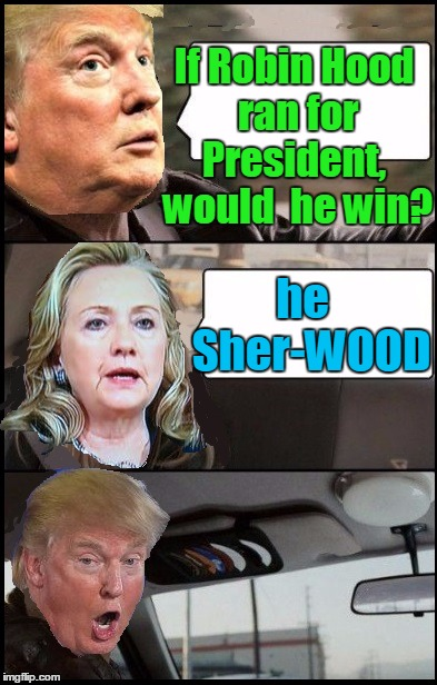 Donald Cab driving | If Robin Hood ran for President,  would  he win? he  Sher-WOOD | image tagged in donald cab driving | made w/ Imgflip meme maker