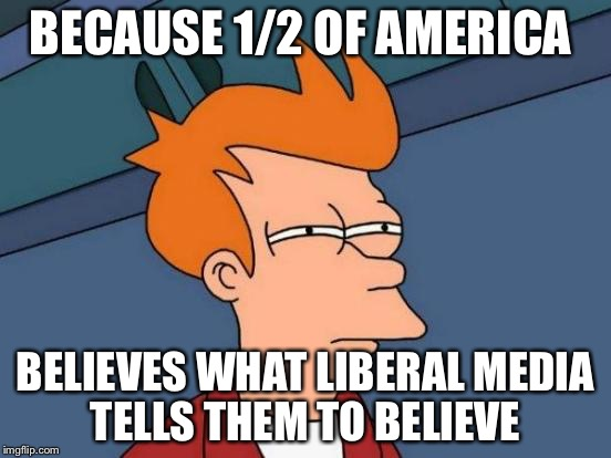 Futurama Fry Meme | BECAUSE 1/2 OF AMERICA BELIEVES WHAT LIBERAL MEDIA TELLS THEM TO BELIEVE | image tagged in memes,futurama fry | made w/ Imgflip meme maker