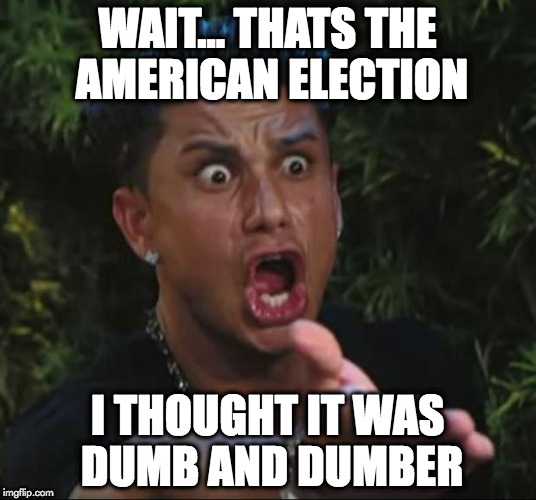 DJ Pauly D Meme | WAIT... THATS THE AMERICAN ELECTION I THOUGHT IT WAS DUMB AND DUMBER | image tagged in memes,dj pauly d | made w/ Imgflip meme maker