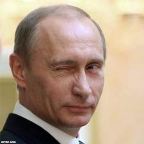 Putin Wink | _ | image tagged in putin wink | made w/ Imgflip meme maker
