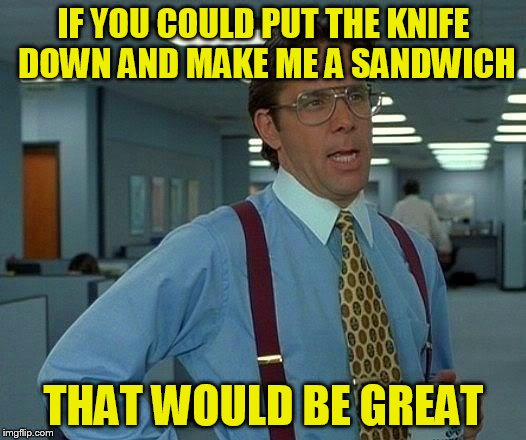 That Would Be Great Meme | IF YOU COULD PUT THE KNIFE DOWN AND MAKE ME A SANDWICH THAT WOULD BE GREAT | image tagged in memes,that would be great | made w/ Imgflip meme maker
