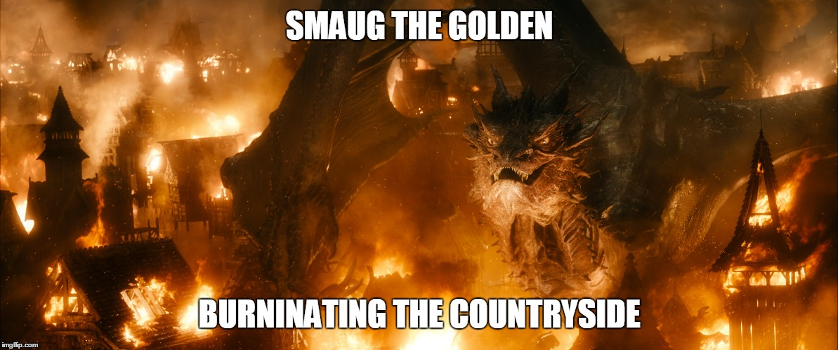 SMAUG THE GOLDEN BURNINATING THE COUNTRYSIDE | image tagged in smaug,the hobbit,lake town,middle earth,smaug hobbit | made w/ Imgflip meme maker