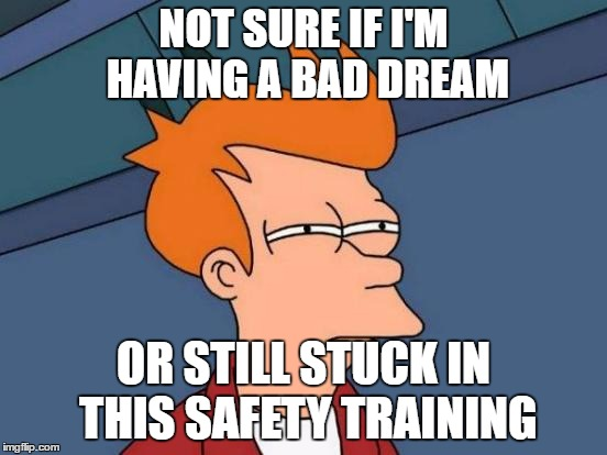 NOT SURE IF I'M HAVING A BAD DREAM OR STILL STUCK IN THIS SAFETY TRAINING | image tagged in memes,futurama fry | made w/ Imgflip meme maker