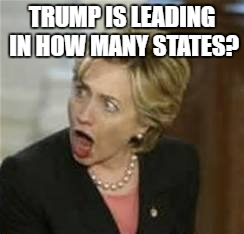 Hillary Clinton - Open mouth | TRUMP IS LEADING IN HOW MANY STATES? | image tagged in hillary clinton - open mouth | made w/ Imgflip meme maker