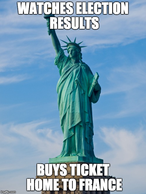 statue of liberty | WATCHES ELECTION RESULTS BUYS TICKET HOME TO FRANCE | image tagged in statue of liberty | made w/ Imgflip meme maker