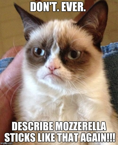 Grumpy Cat Meme | DON'T. EVER. DESCRIBE MOZZERELLA STICKS LIKE THAT AGAIN!!! | image tagged in memes,grumpy cat | made w/ Imgflip meme maker