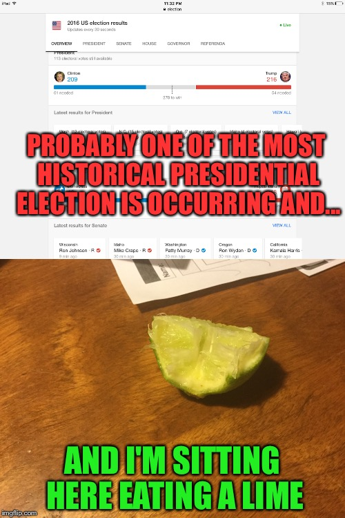 My life choices right now... | PROBABLY ONE OF THE MOST HISTORICAL PRESIDENTIAL ELECTION IS OCCURRING AND... AND I'M SITTING HERE EATING A LIME | image tagged in meme,funny,election,lime | made w/ Imgflip meme maker