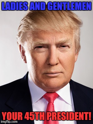Donald Trump | LADIES AND GENTLEMEN YOUR 45TH PRESIDENT! | image tagged in donald trump | made w/ Imgflip meme maker