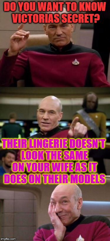 Picard Pun | DO YOU WANT TO KNOW VICTORIAS SECRET? THEIR LINGERIE DOESN'T LOOK THE SAME ON YOUR WIFE AS IT DOES ON THEIR MODELS | image tagged in picard pun | made w/ Imgflip meme maker