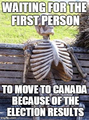 Canada, eh ? | WAITING FOR THE FIRST PERSON TO MOVE TO CANADA BECAUSE OF THE ELECTION RESULTS | image tagged in memes,waiting skeleton | made w/ Imgflip meme maker