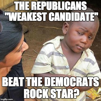 "Third World Skeptical Kid Meme | THE REPUBLICANS ""WEAKEST CANDIDATE"" BEAT THE DEMOCRATS ROCK STAR? 
