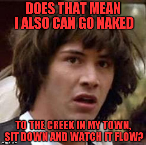 Conspiracy Keanu Meme | DOES THAT MEAN I ALSO CAN GO NAKED TO THE CREEK IN MY TOWN, SIT DOWN AND WATCH IT FLOW? | image tagged in memes,conspiracy keanu | made w/ Imgflip meme maker