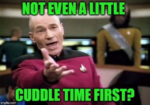 Picard Wtf Meme | NOT EVEN A LITTLE CUDDLE TIME FIRST? | image tagged in memes,picard wtf | made w/ Imgflip meme maker