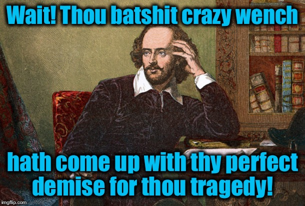 Wait! Thou batshit crazy wench hath come up with thy perfect demise for thou tragedy! | made w/ Imgflip meme maker