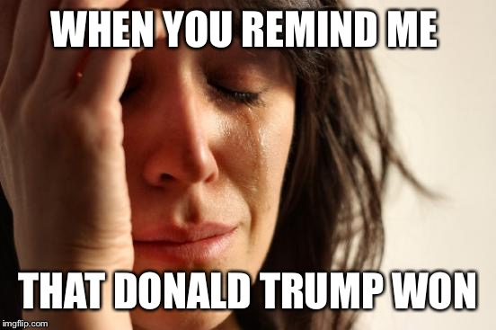 First World Problems Meme | WHEN YOU REMIND ME THAT DONALD TRUMP WON | image tagged in memes,first world problems | made w/ Imgflip meme maker