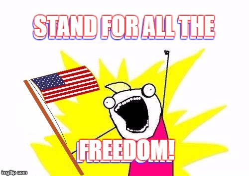 X All The Y, With USA Flag | STAND FOR ALL THE FREEDOM! STAND FOR ALL THE FREEDOM! | image tagged in x all the y with usa flag | made w/ Imgflip meme maker
