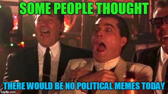 Cool Story, Clinkster :) |  SOME PEOPLE THOUGHT; THERE WOULD BE NO POLITICAL MEMES TODAY | image tagged in memes,political memes,funny,donald trump,save steve harvey,goodfellas laughing scene henry hill | made w/ Imgflip meme maker