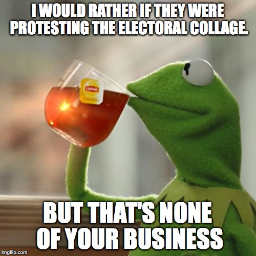 But Thats None Of My Business Meme | I WOULD RATHER IF THEY WERE PROTESTING THE ELECTORAL COLLAGE. BUT THAT'S NONE OF YOUR BUSINESS | image tagged in memes,but thats none of my business,kermit the frog | made w/ Imgflip meme maker