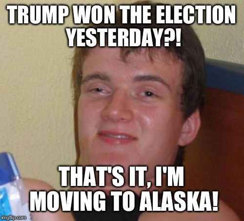 Meme template reactions to the election: Ten guy edition | TRUMP WON THE ELECTION YESTERDAY?! THAT'S IT, I'M MOVING TO ALASKA! | image tagged in memes,10 guy | made w/ Imgflip meme maker