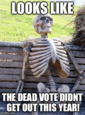 Waiting Skeleton Meme | LOOKS LIKE THE DEAD VOTE DIDNT GET OUT THIS YEAR! | image tagged in memes,waiting skeleton | made w/ Imgflip meme maker