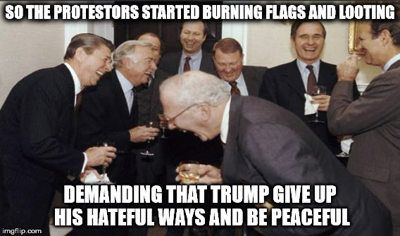SO THE PROTESTORS STARTED BURNING FLAGS AND LOOTING DEMANDING THAT TRUMP GIVE UP HIS HATEFUL WAYS AND BE PEACEFUL | made w/ Imgflip meme maker