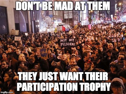 DON'T BE MAD AT THEM THEY JUST WANT THEIR PARTICIPATION TROPHY | image tagged in political meme,memes,trump 2016,lib protestors | made w/ Imgflip meme maker