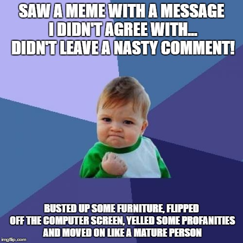 Success Kid Meme | SAW A MEME WITH A MESSAGE I DIDN'T AGREE WITH... DIDN'T LEAVE A NASTY COMMENT! BUSTED UP SOME FURNITURE, FLIPPED OFF THE COMPUTER SCREEN, YE | image tagged in memes,success kid | made w/ Imgflip meme maker