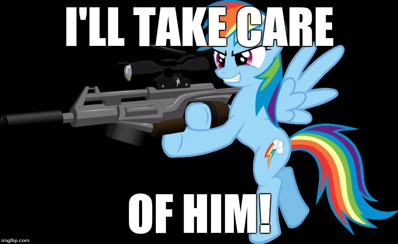 gunning rainbow dash | I'LL TAKE CARE OF HIM! | image tagged in gunning rainbow dash | made w/ Imgflip meme maker