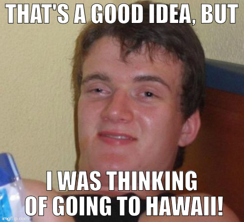 10 Guy Meme | THAT'S A GOOD IDEA, BUT I WAS THINKING OF GOING TO HAWAII! | image tagged in memes,10 guy | made w/ Imgflip meme maker