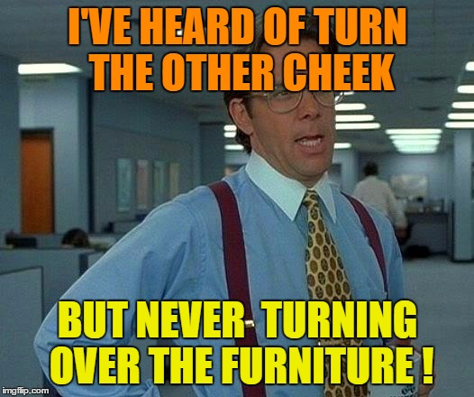 That Would Be Great Meme | I'VE HEARD OF TURN THE OTHER CHEEK BUT NEVER  TURNING OVER THE FURNITURE ! | image tagged in memes,that would be great | made w/ Imgflip meme maker