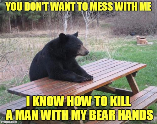 Welcome to the Jungle | YOU DON'T WANT TO MESS WITH ME I KNOW HOW TO KILL A MAN WITH MY BEAR HANDS | image tagged in memes,bad luck bear,bad pun | made w/ Imgflip meme maker