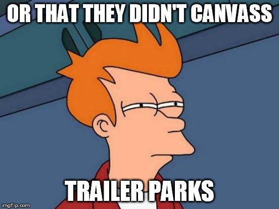 Futurama Fry Meme | OR THAT THEY DIDN'T CANVASS TRAILER PARKS | image tagged in memes,futurama fry | made w/ Imgflip meme maker