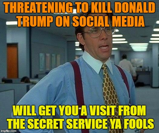 Another Reason We Voted Trump In Was Because We Are Tired Of Your Crap ! | THREATENING TO KILL DONALD TRUMP ON SOCIAL MEDIA WILL GET YOU A VISIT FROM THE SECRET SERVICE YA FOOLS | image tagged in memes,that would be great | made w/ Imgflip meme maker