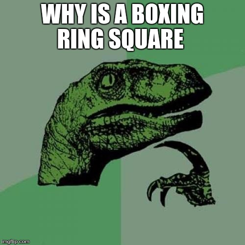 Philosoraptor Meme | WHY IS A BOXING RING SQUARE | image tagged in memes,philosoraptor | made w/ Imgflip meme maker