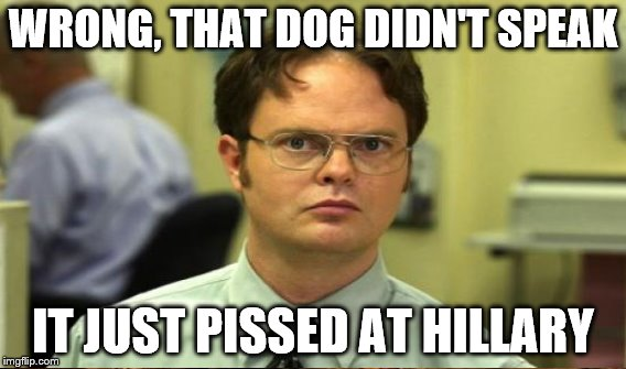 WRONG, THAT DOG DIDN'T SPEAK IT JUST PISSED AT HILLARY | made w/ Imgflip meme maker