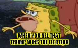 Spongegar Meme | WHEN YOU SEE THAT TRUMP WINS THE ELECTION | image tagged in memes,spongegar | made w/ Imgflip meme maker