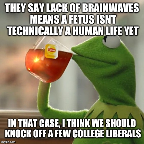 But Thats None Of My Business Meme | THEY SAY LACK OF BRAINWAVES MEANS A FETUS ISNT TECHNICALLY A HUMAN LIFE YET IN THAT CASE, I THINK WE SHOULD KNOCK OFF A FEW COLLEGE LIBERALS | image tagged in memes,but thats none of my business,kermit the frog | made w/ Imgflip meme maker
