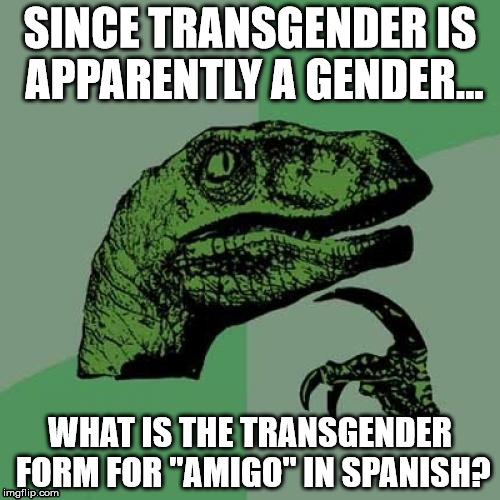 "Don't think too hard. | SINCE TRANSGENDER IS APPARENTLY A GENDER... WHAT IS THE TRANSGENDER FORM FOR ""AMIGO"" IN SPANISH? 