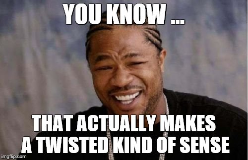 Yo Dawg Heard You Meme | YOU KNOW ... THAT ACTUALLY MAKES A TWISTED KIND OF SENSE | image tagged in memes,yo dawg heard you | made w/ Imgflip meme maker