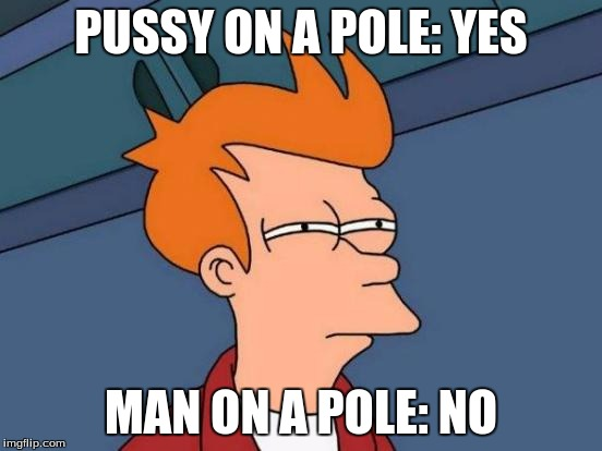 Futurama Fry Meme | PUSSY ON A POLE: YES MAN ON A POLE: NO | image tagged in memes,futurama fry | made w/ Imgflip meme maker