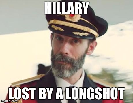 Trump won i'm glad |  HILLARY; LOST BY A LONGSHOT | image tagged in captain obvious | made w/ Imgflip meme maker