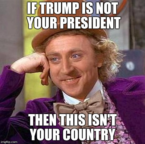 Creepy Condescending Wonka Meme | IF TRUMP IS NOT YOUR PRESIDENT THEN THIS ISN'T YOUR COUNTRY | image tagged in memes,creepy condescending wonka | made w/ Imgflip meme maker