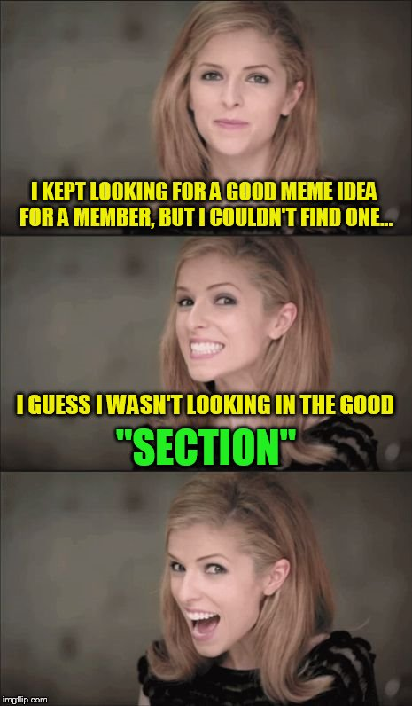 USE A USERNAME IN YOUR MEME WEEKEND IS HERE | I KEPT LOOKING FOR A GOOD MEME IDEA FOR A MEMBER, BUT I COULDN'T FIND ONE... I GUESS I WASN'T LOOKING IN THE GOOD ''SECTION'' | image tagged in memes,bad pun anna kendrick,use someones username in your meme,section,jokes,laughs | made w/ Imgflip meme maker
