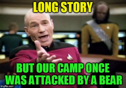 Picard Wtf Meme | LONG STORY BUT OUR CAMP ONCE WAS ATTACKED BY A BEAR | image tagged in memes,picard wtf | made w/ Imgflip meme maker