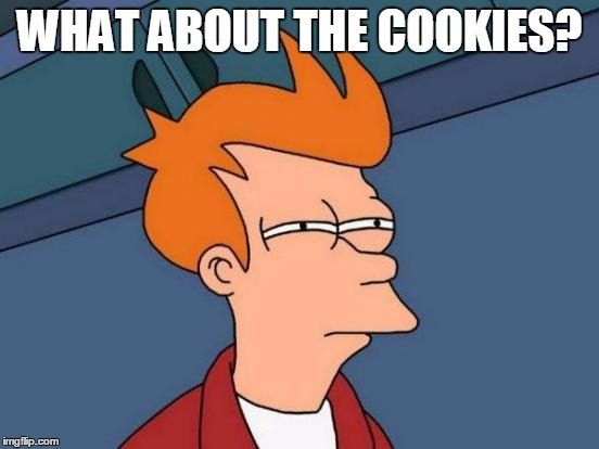 Futurama Fry Meme | WHAT ABOUT THE COOKIES? | image tagged in memes,futurama fry | made w/ Imgflip meme maker