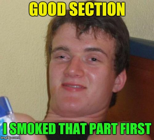10 Guy Meme | GOOD SECTION I SMOKED THAT PART FIRST | image tagged in memes,10 guy | made w/ Imgflip meme maker