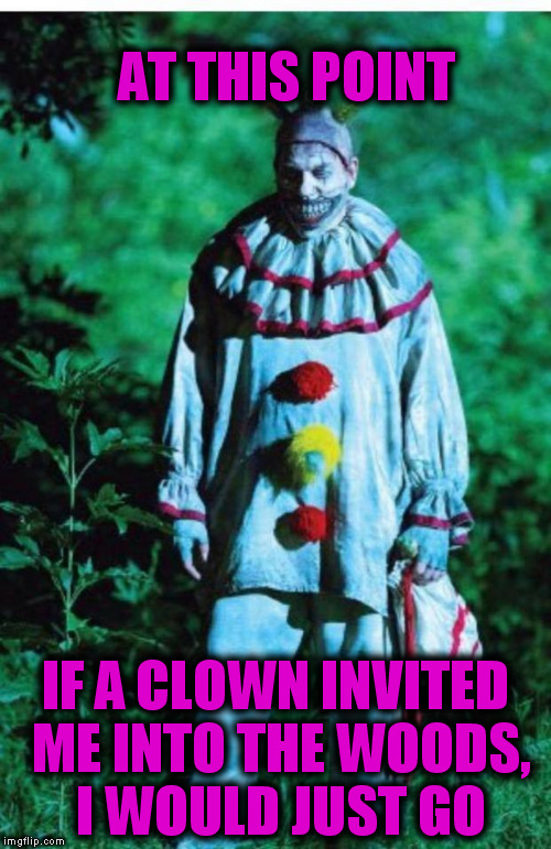 scary clown | AT THIS POINT IF A CLOWN INVITED ME INTO THE WOODS, I WOULD JUST GO | image tagged in scary clown,clown,scary,woods | made w/ Imgflip meme maker